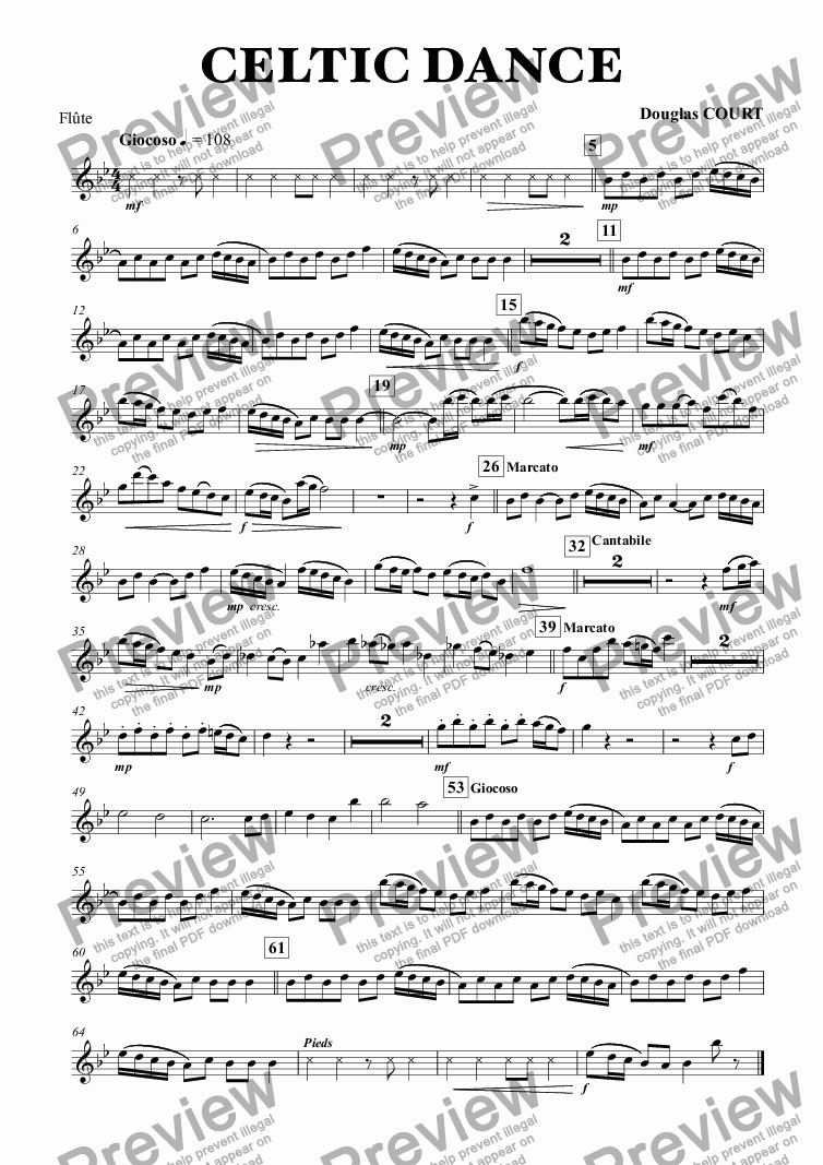 page one of the Flûte part from CELTIC DANCE