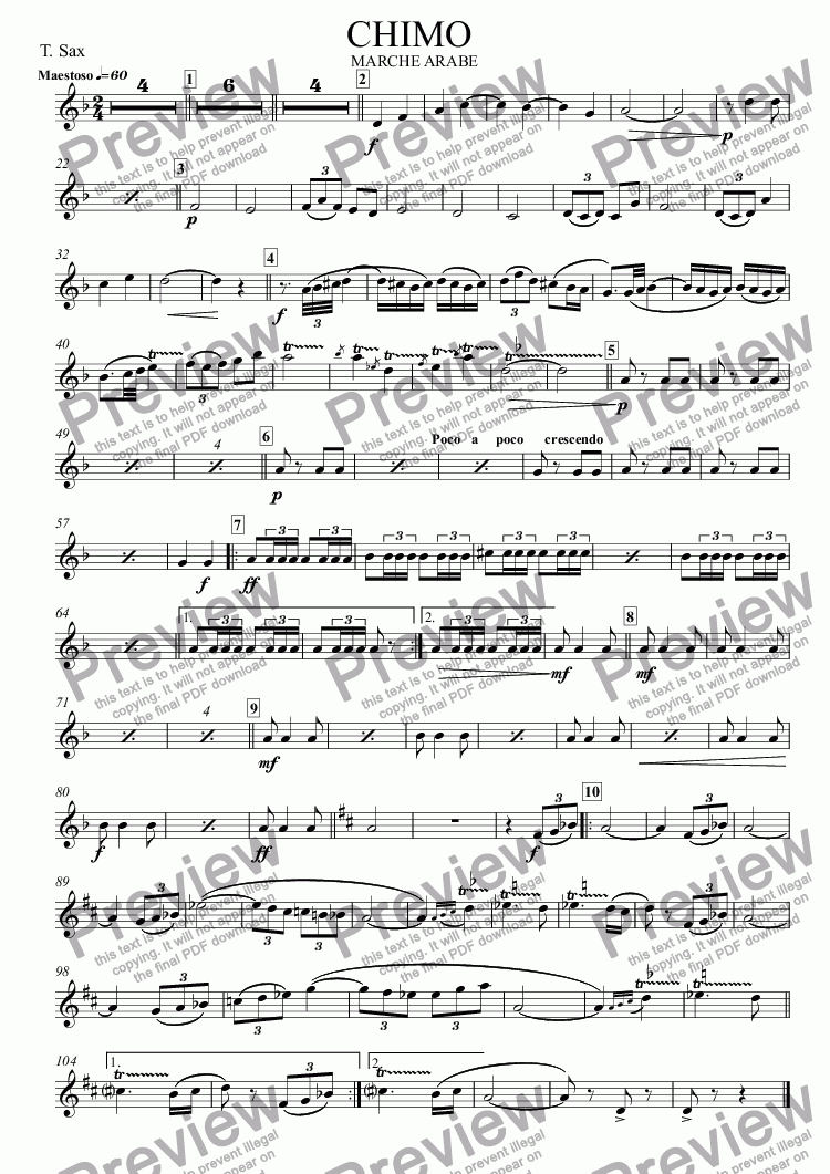 page one of the T. Sax part from CHIMO