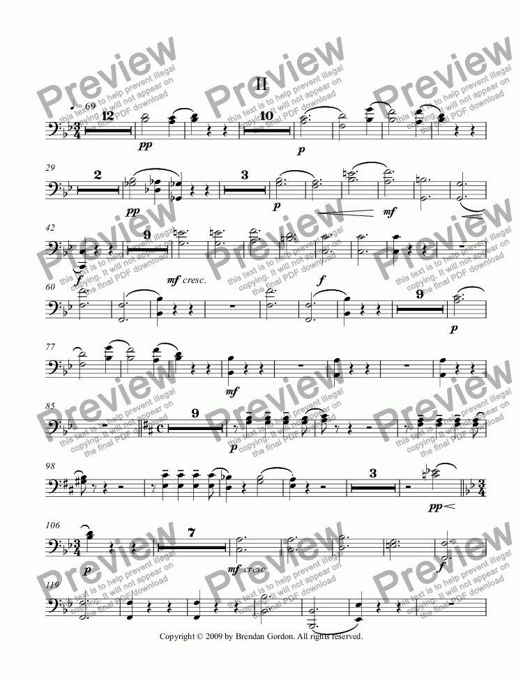 page one of the Bassoons part from So Not A Rag: Piano Concerto No. 2 in C Major (2nd mvt)