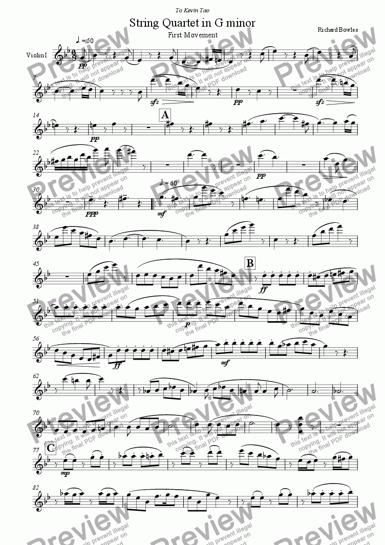 page one of the Violin I part from String quartet in G minor (I)