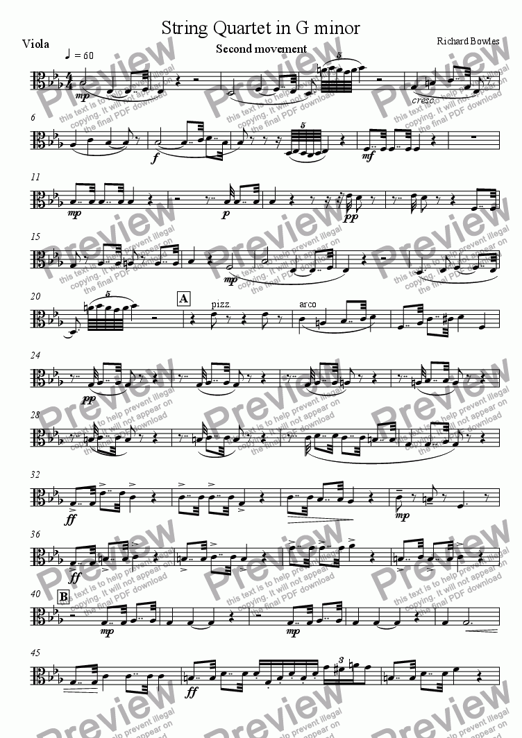 page one of the Viola part from String Quartet in G minor (II)