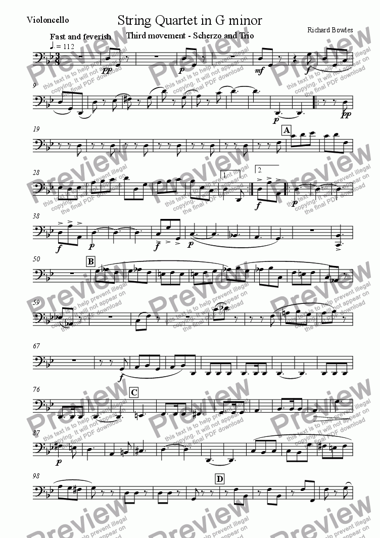 page one of the Violoncello part from String Quartet in G minor (III)