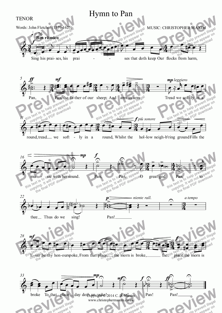 page one of the TENOR part from Songs of Gods and Mortals