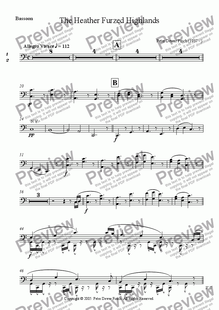 page one of the Bassoons part from The Heather Furzed Highlands in C Major
