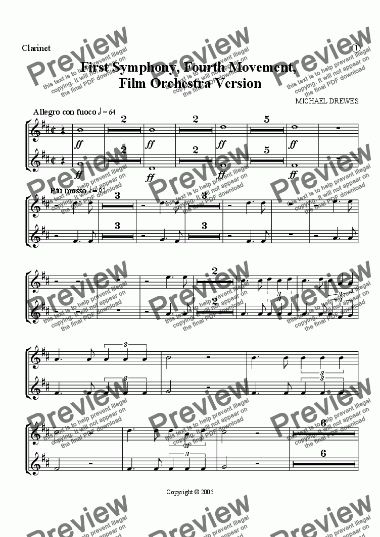 page one of the Clarinets in Bb part from Symphony No. 1, Movement 4 (Film Orchestra Version)
