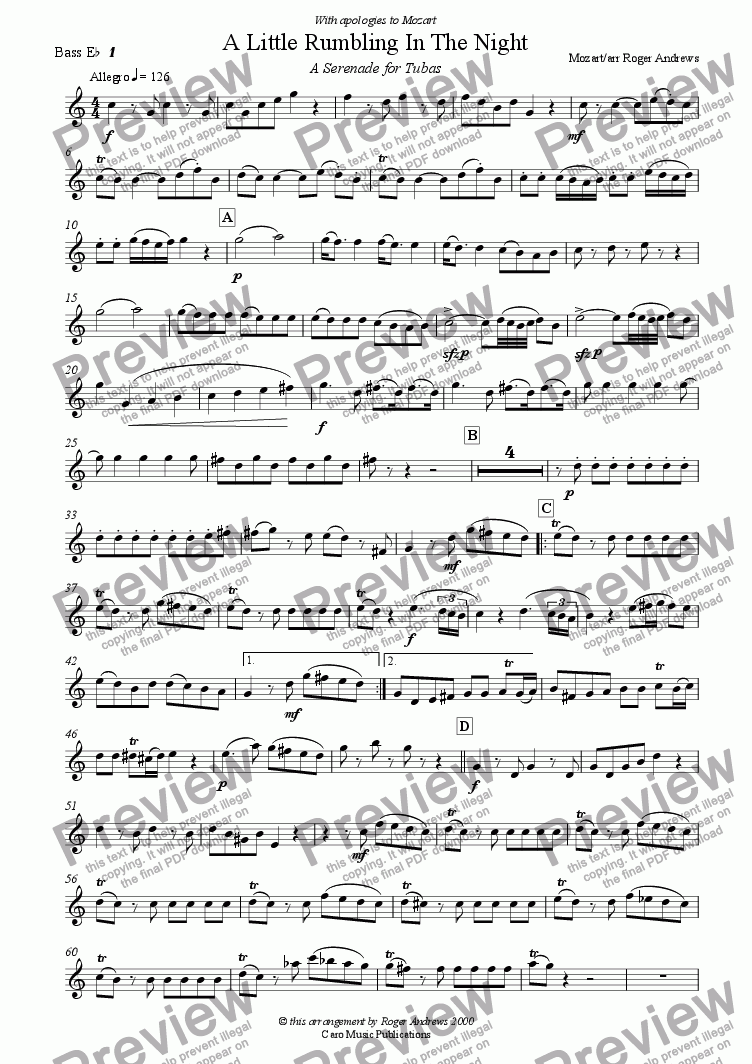 page one of the Bass Eb 1 part from A Little Rumbling in The Night