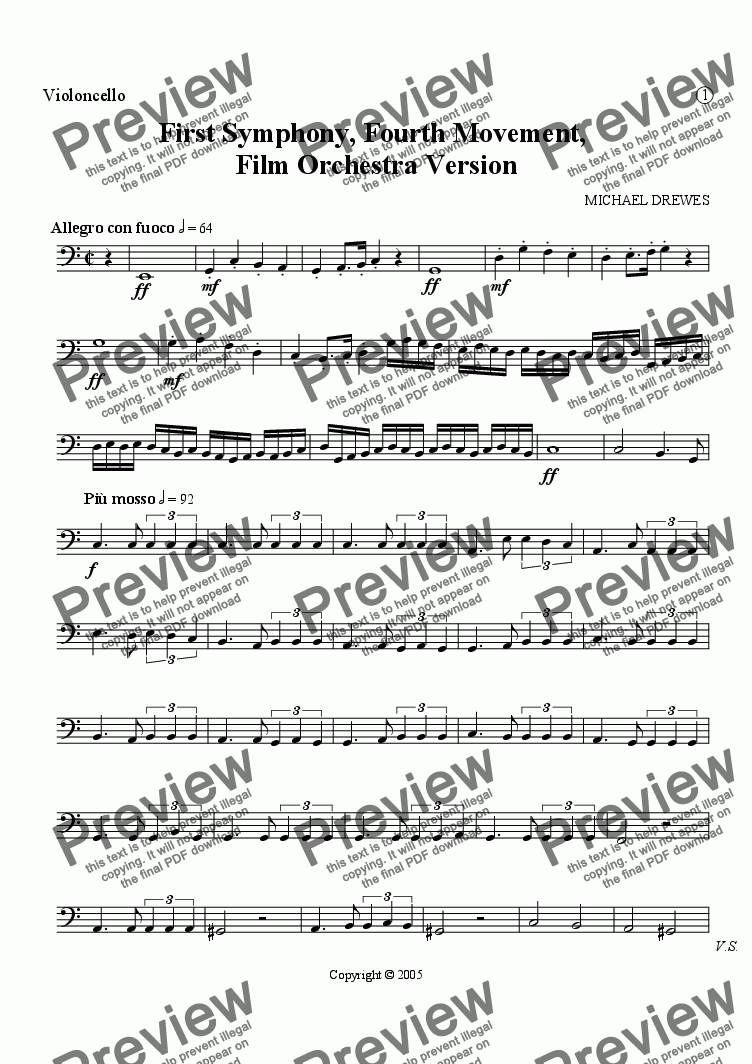 page one of the Violoncello part from Symphony No. 1, Movement 4 (Film Orchestra Version)