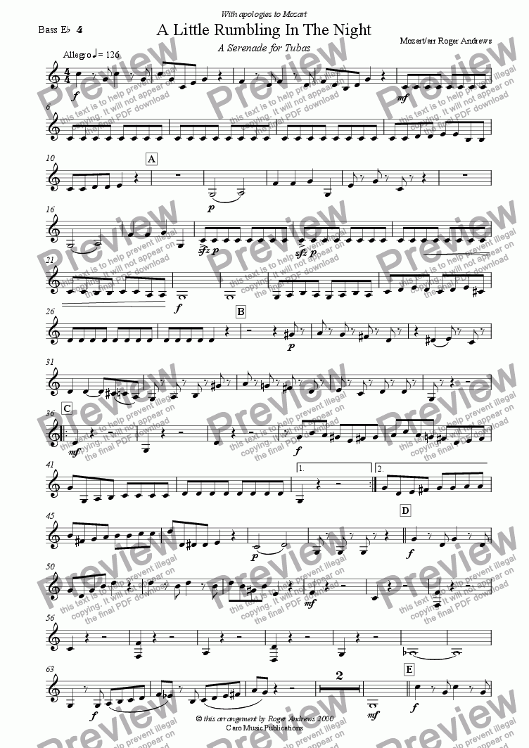 page one of the Bass Eb 4 part from A Little Rumbling in The Night