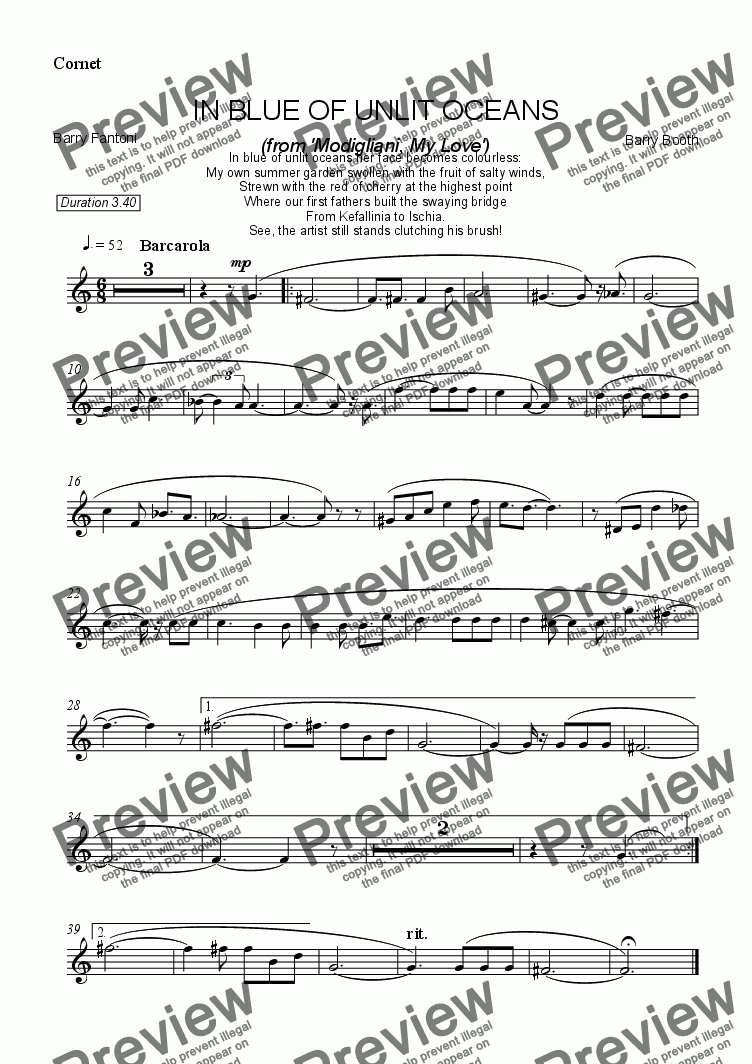page one of the cornet part from In Blue of Unlit Oceans (cornet)