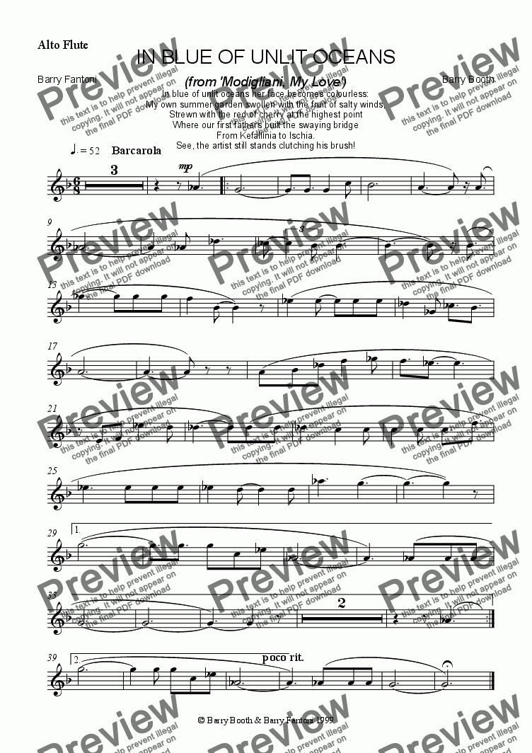 page one of the alto flute part from In Blue of Unlit Oceans (flute)