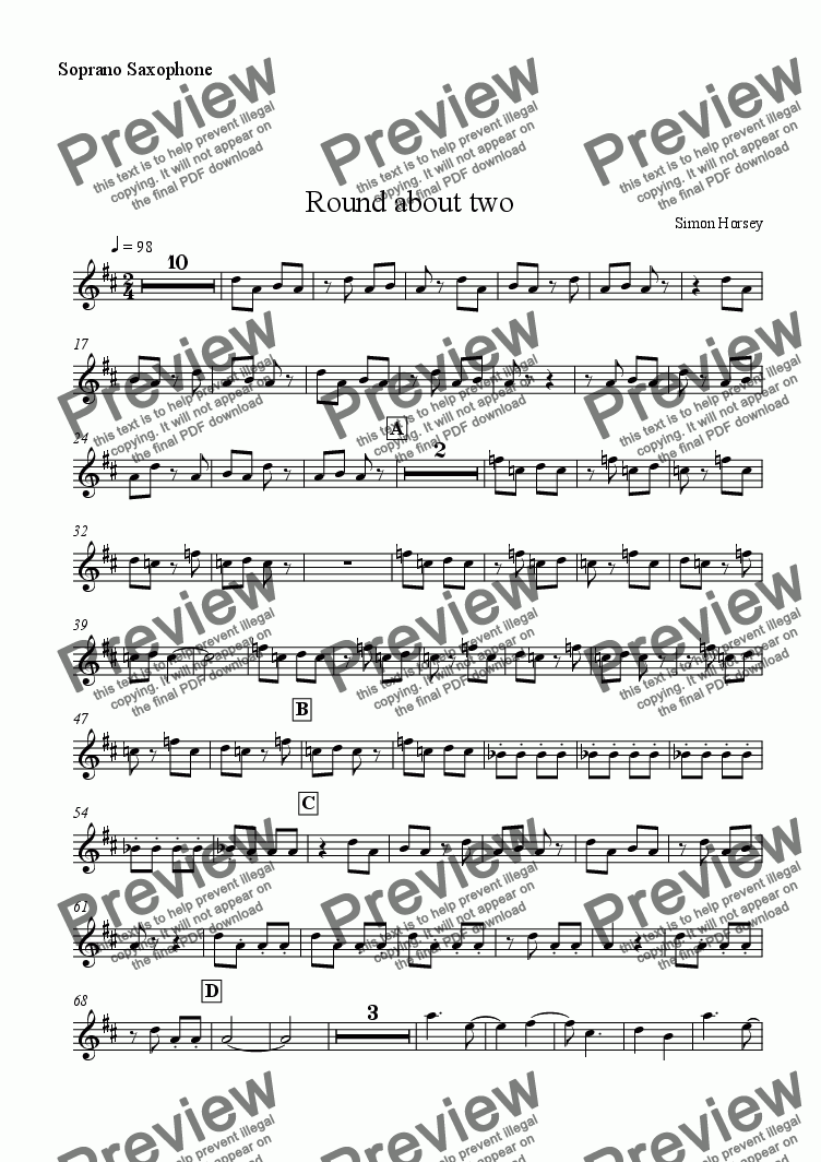 page one of the Soprano Sax part from Round about two