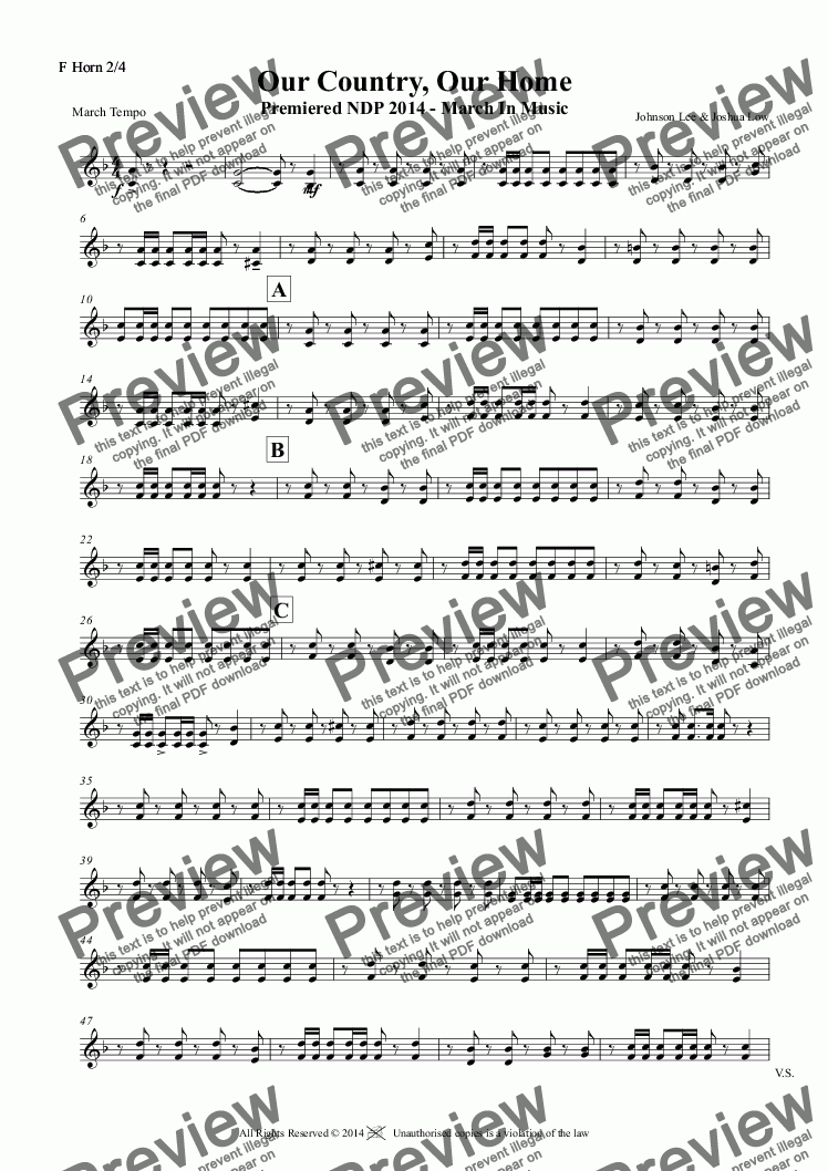 page one of the F Horn 2/4 part from Our Country, Our Home Premiered NDP 2014 - March In Music