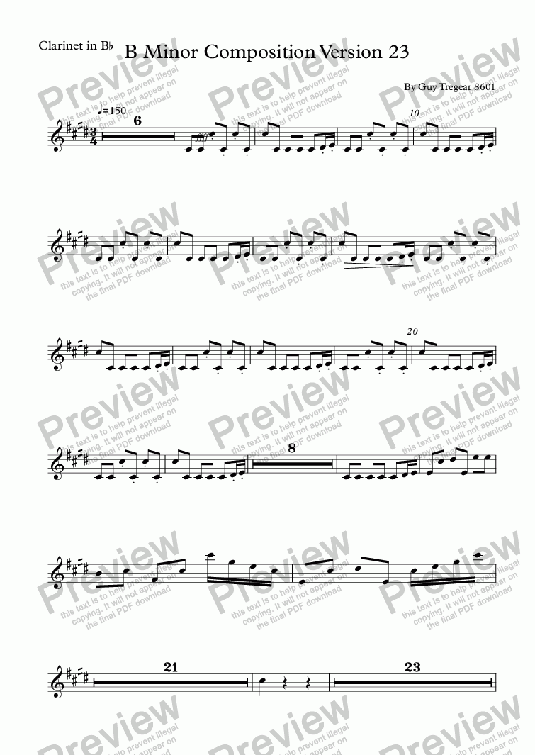 page one of the Clarinet in B^b part from B Minor Composition Version 23