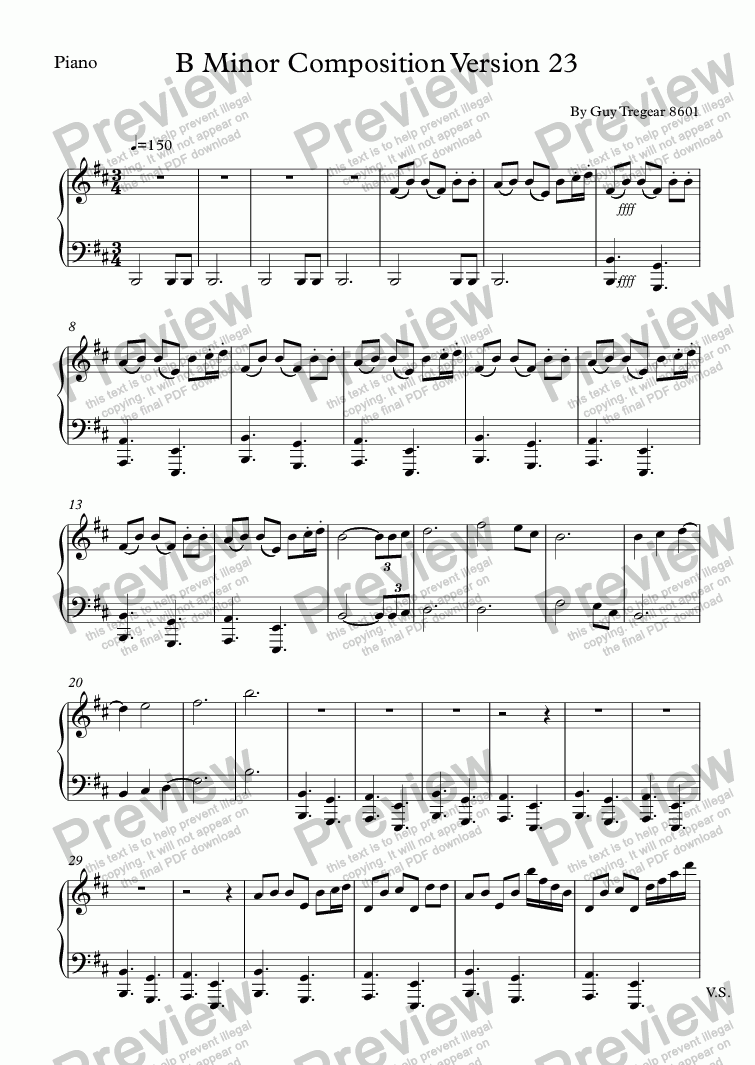 page one of the Piano part from B Minor Composition Version 23