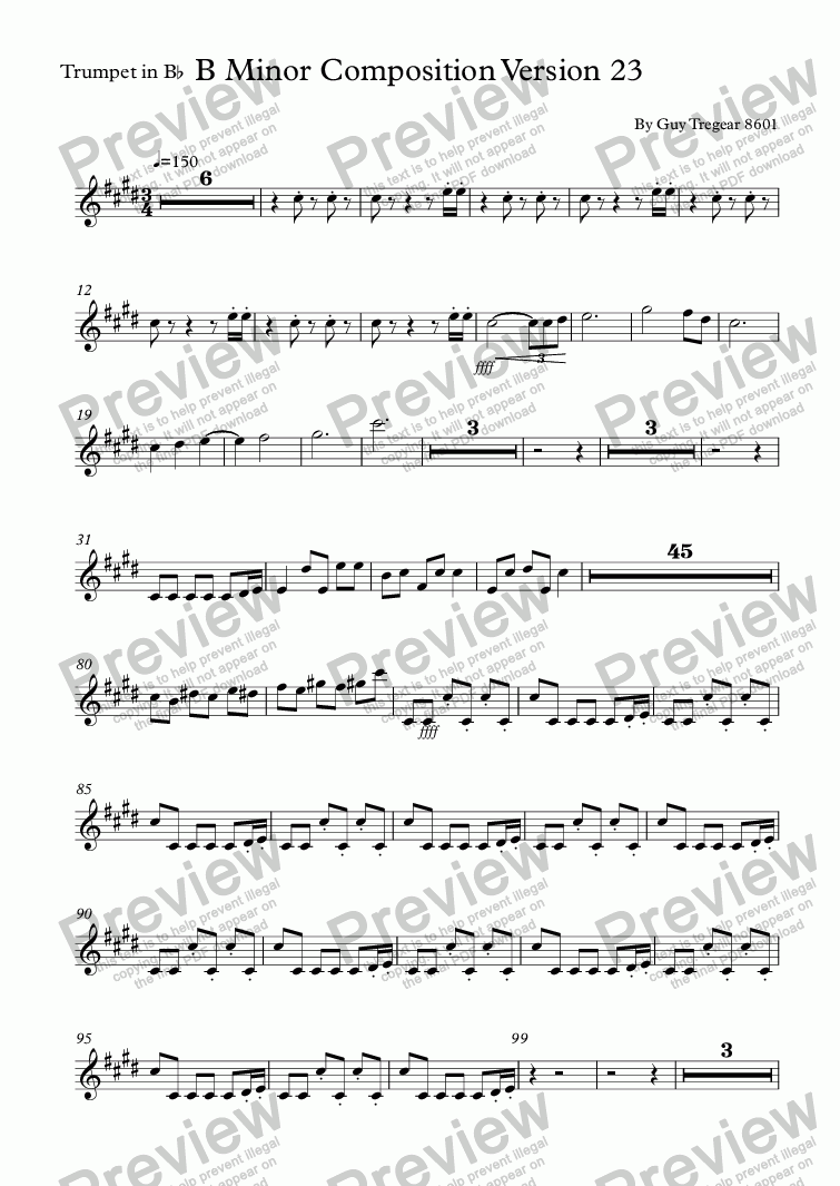 page one of the Trumpet in B^b part from B Minor Composition Version 23
