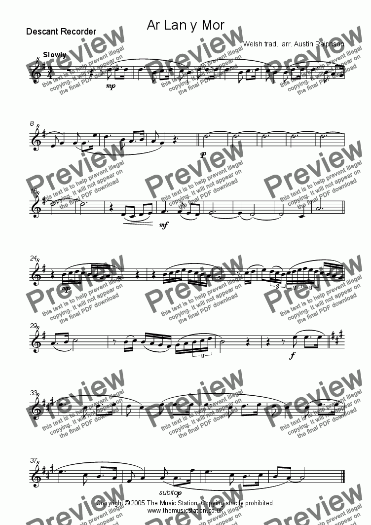 page one of the Descant part from Ar Lan y Mor (By The Sea) - recorder quartet