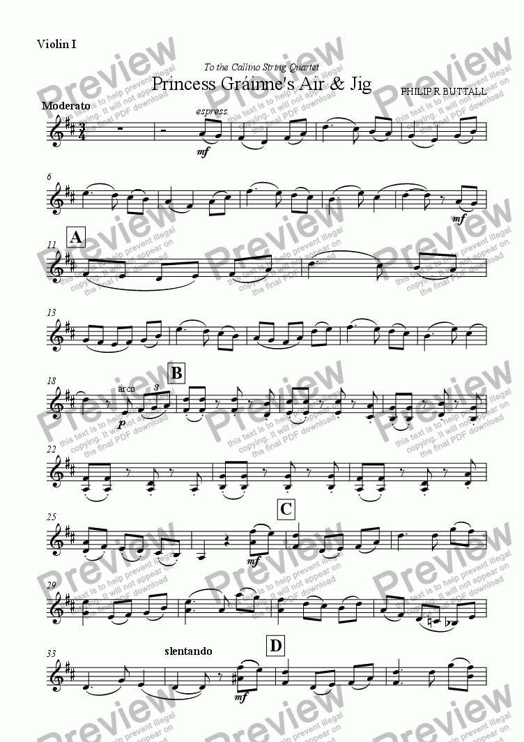 page one of the Violin I part from Princess Grainne's Air & Jig (String Quartet)