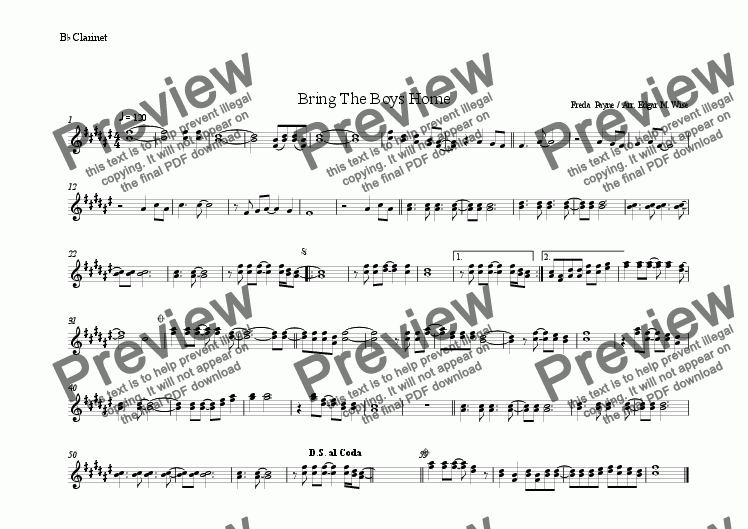page one of the Clarinet part from Bring The Boys Home