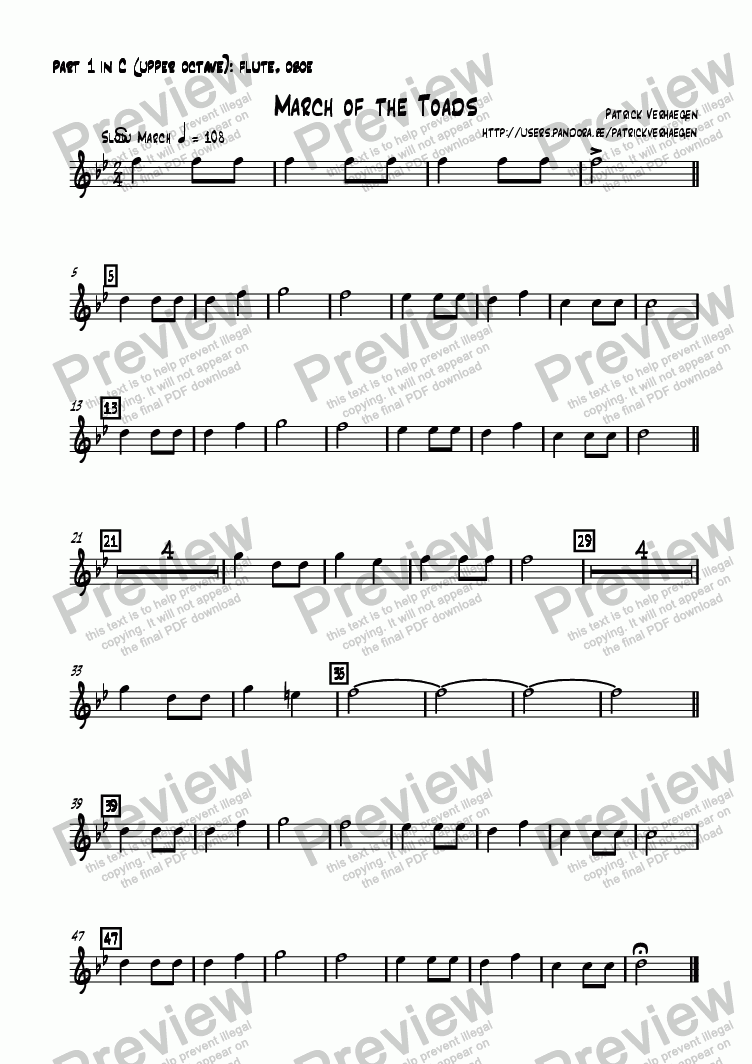 page one of the part 1 in C (upper octave): flute, oboe part from March of the Toads (4 parts + percussion)