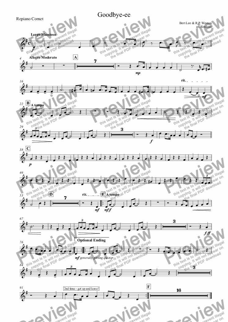 page one of the Repiano Cornet part from Goodbye-ee