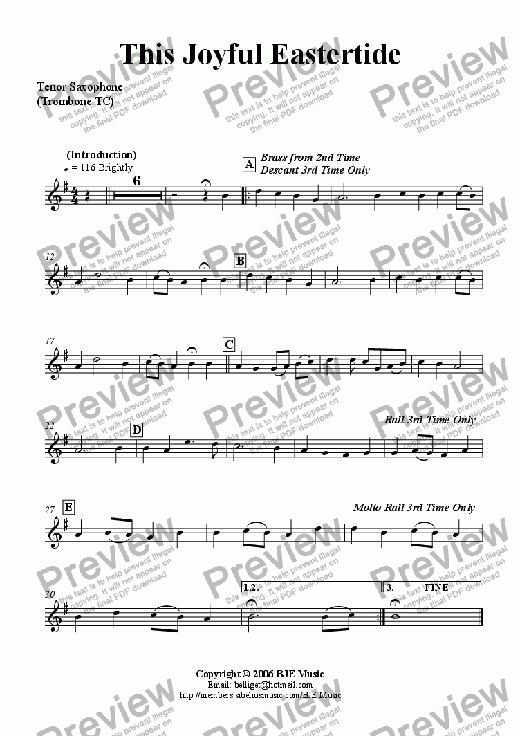 page one of the Tenor Sax -Trom TC part from This Joyful Eastertide (Easter) - Mixed Ensemble