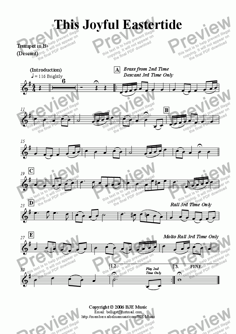 page one of the Trumpet Descant part from This Joyful Eastertide (Easter) - Mixed Ensemble