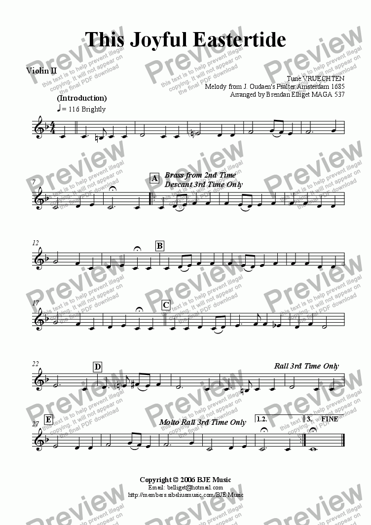 page one of the Violin II part from This Joyful Eastertide (Easter) - Mixed Ensemble