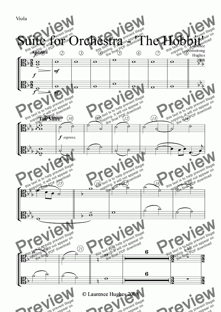 page one of the Viola part from Suite for Orchestra - 'The Hobbit'