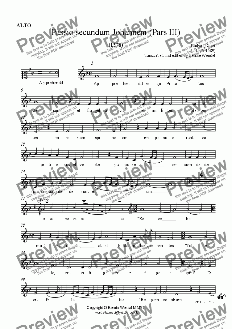 page one of the Alto part from Passio secundum Johannem (St John's Passion) Part 3