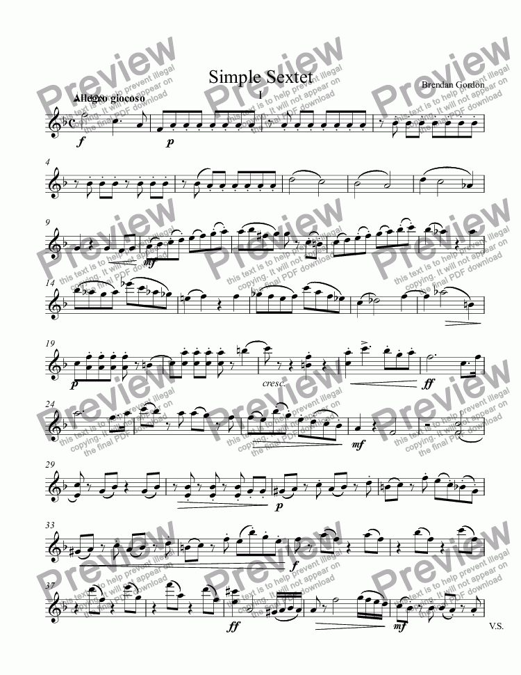 page one of the Violin part from Simple Sextet (1st mvt)