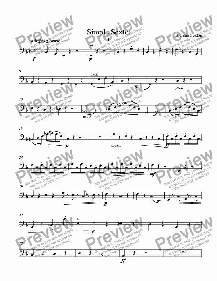 page one of the Violoncello part from Simple Sextet (1st mvt)