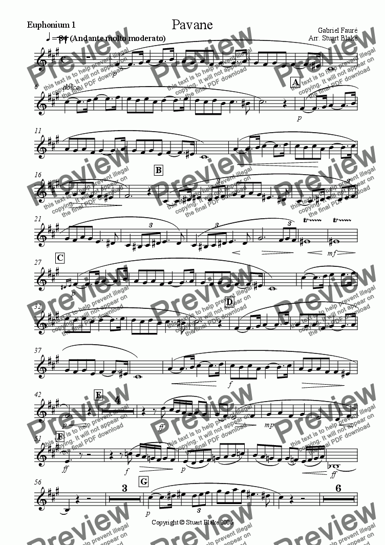 page one of the Euph 1 part from Pavane (Bb Euphonium Quartet)