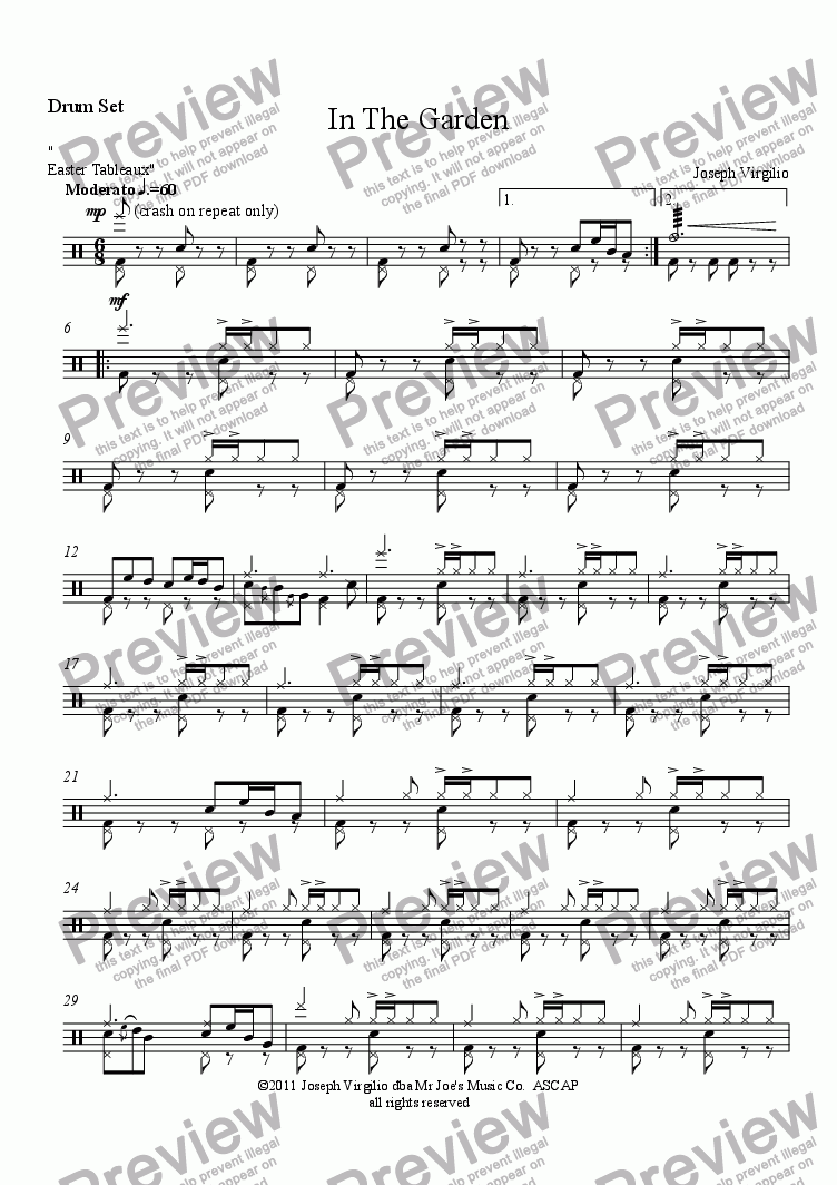 page one of the In The Garden - Drum Set part from :040 Opus: [04]. In The Garden  (from the cantata, Easter Tableaux)