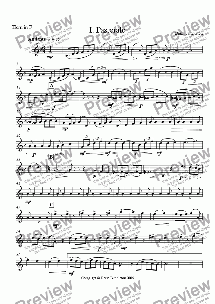 page one of the Horn part from Trio for Clarinet, Horn, and Violoncello Op. 11, Mvt. #1 Pastorale