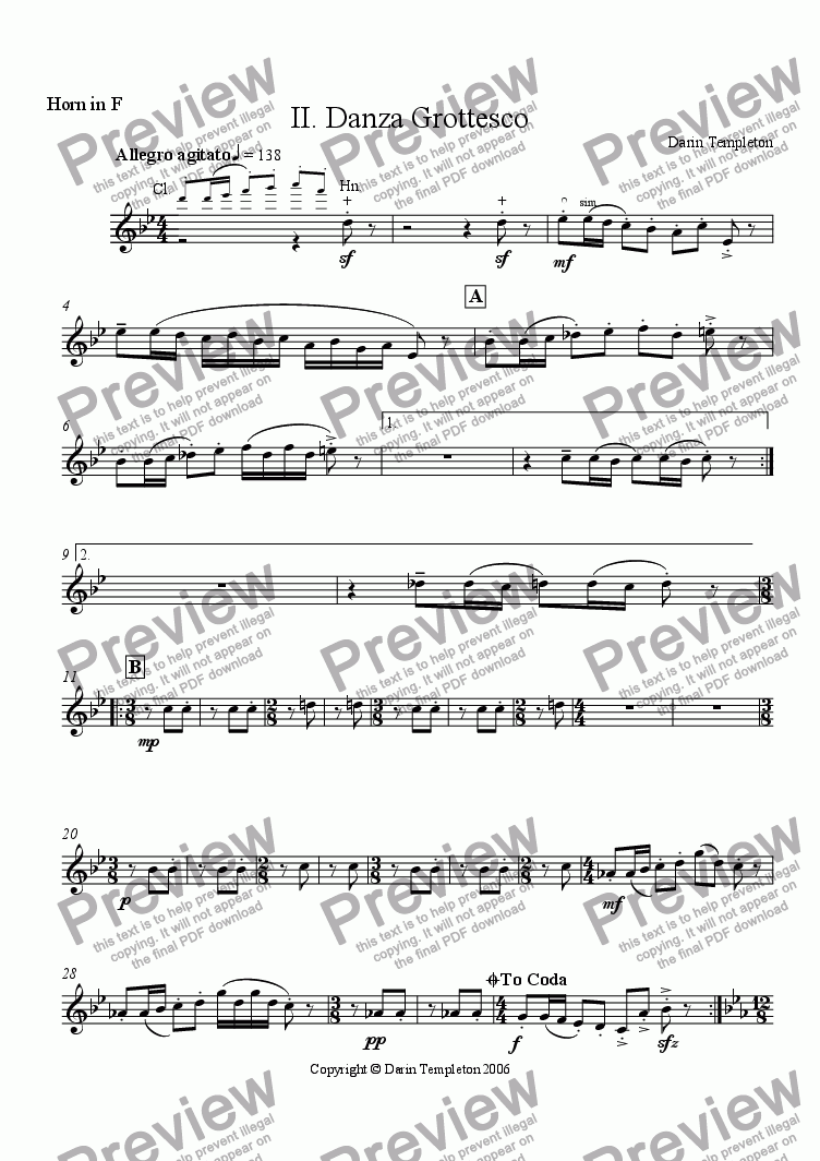 page one of the Horn part from Trio for Clarinet, Horn, and Violoncello Op. 11, Mvt. #2 Danza Grottesco