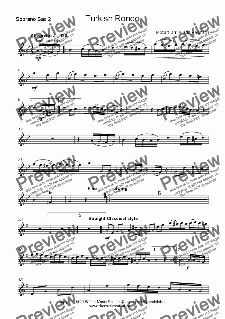 page one of the Soprano 2 part from Turkish Rondo - sax ensemble