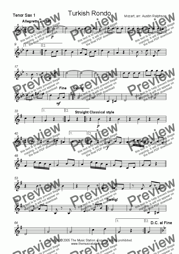 page one of the Tenor 1 part from Turkish Rondo - sax ensemble