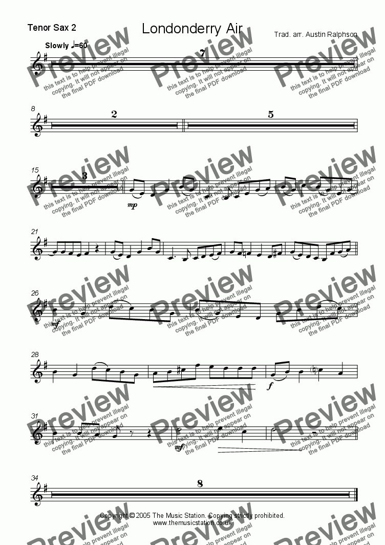 page one of the Tenor 2 part from Londonderry Air (Danny Boy) - sax ensemble