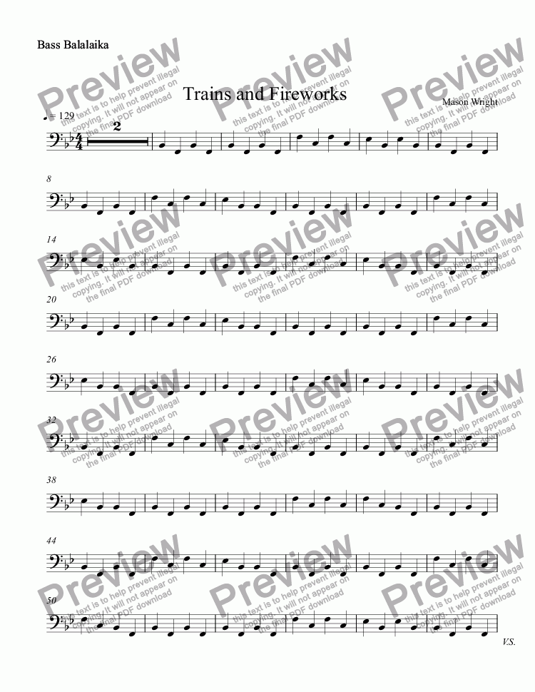 page one of the Bass Balalaika part from Trains and Fireworks