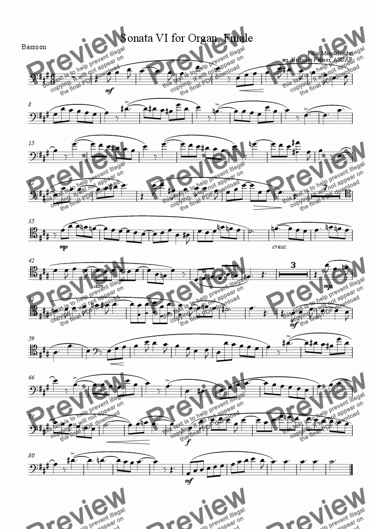 page one of the Bassoon part from Piano Trio arr. from Organ Sonata VI [flute bassoon piano]