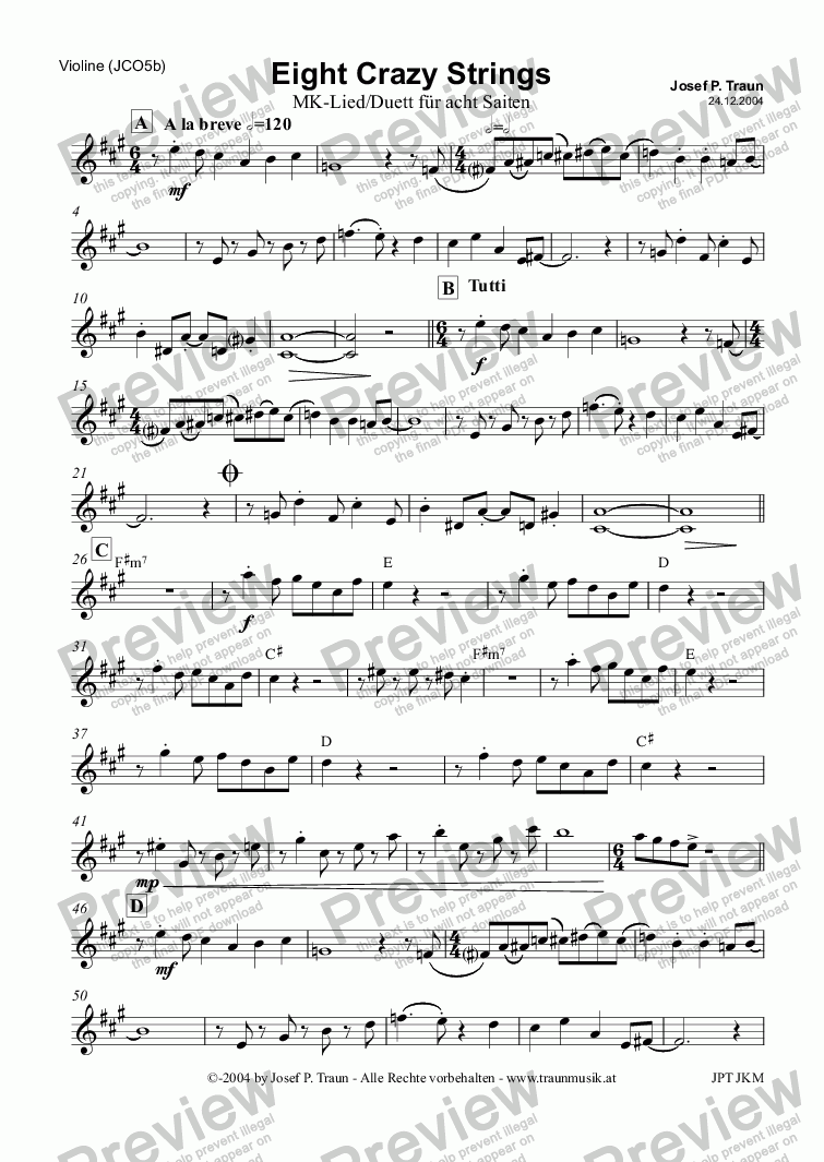 page one of the Violine part from Eight Crazy Strings (JCO5b)