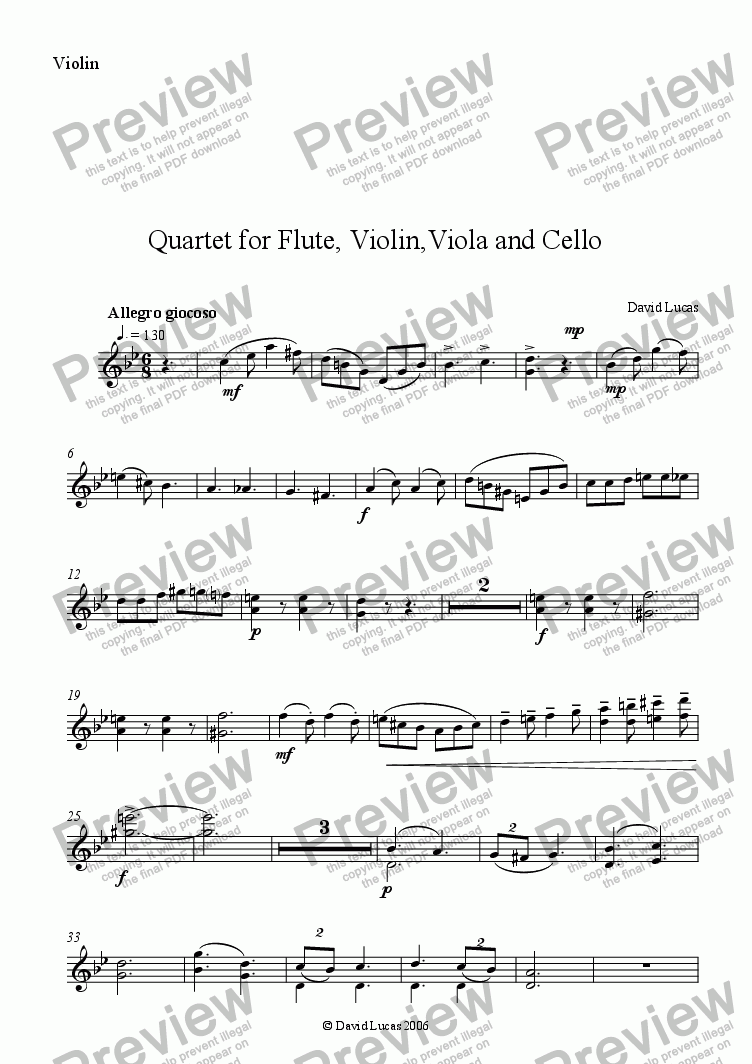 page one of the Violin part from Quartet for Flute and Strings