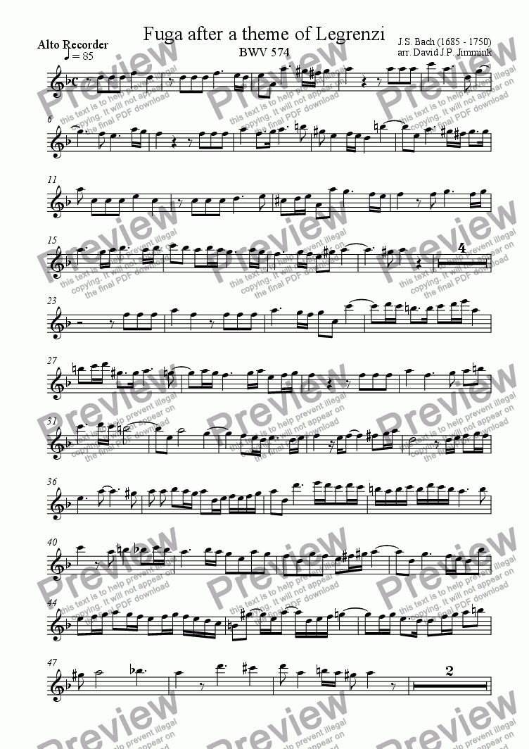 page one of the Alto part from Fugue on a theme from Legrenzi