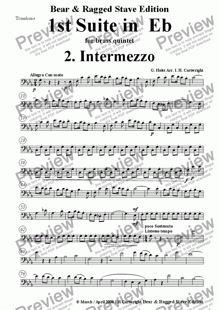 page one of the Trombone part from 1st Suite in Eb  2. Intermezzo for brass quintet