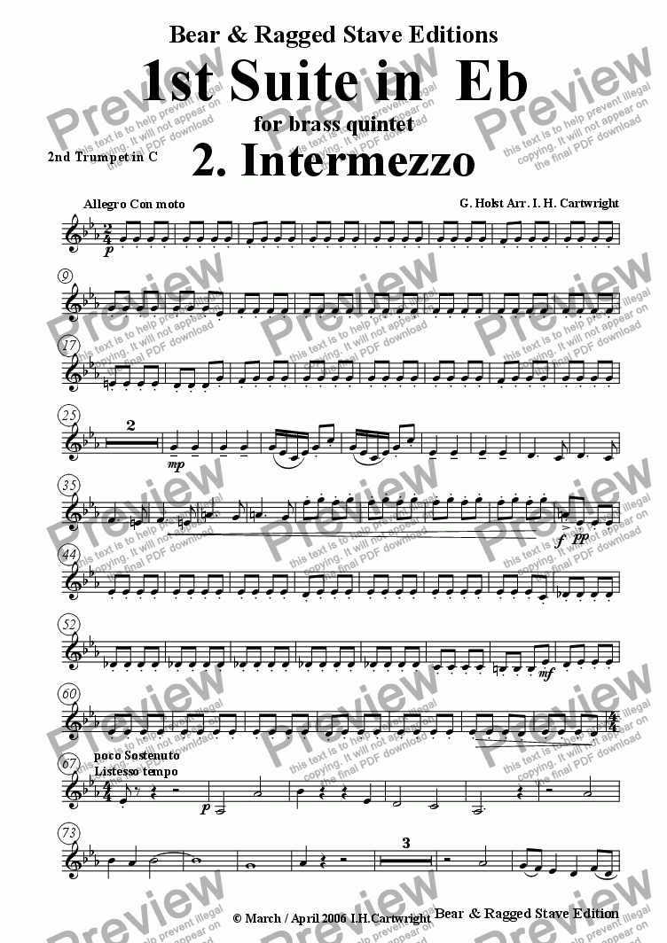 page one of the 2nd trumpet in C part from 1st Suite in Eb  2. Intermezzo for brass quintet