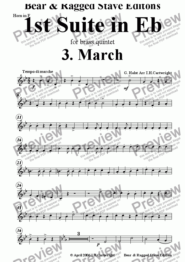 page one of the Horn in F part from 1st Suite in Eb 3. March for brass quintet