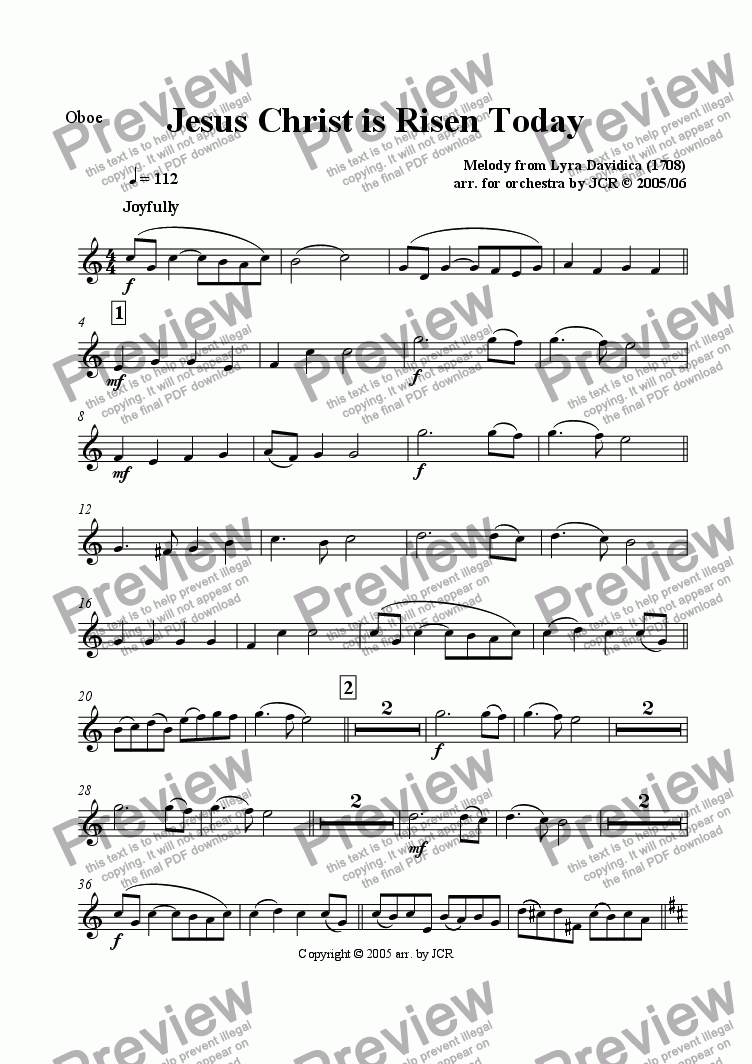 page one of the Oboe part from Jesus Christ is Risen Today
