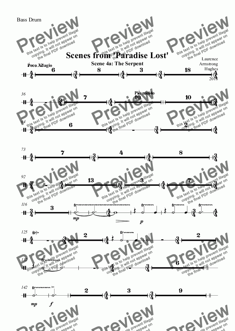 page one of the Bass Drum part from Scenes from 'Paradise Lost' - 4a The Serpent 4b The Fall