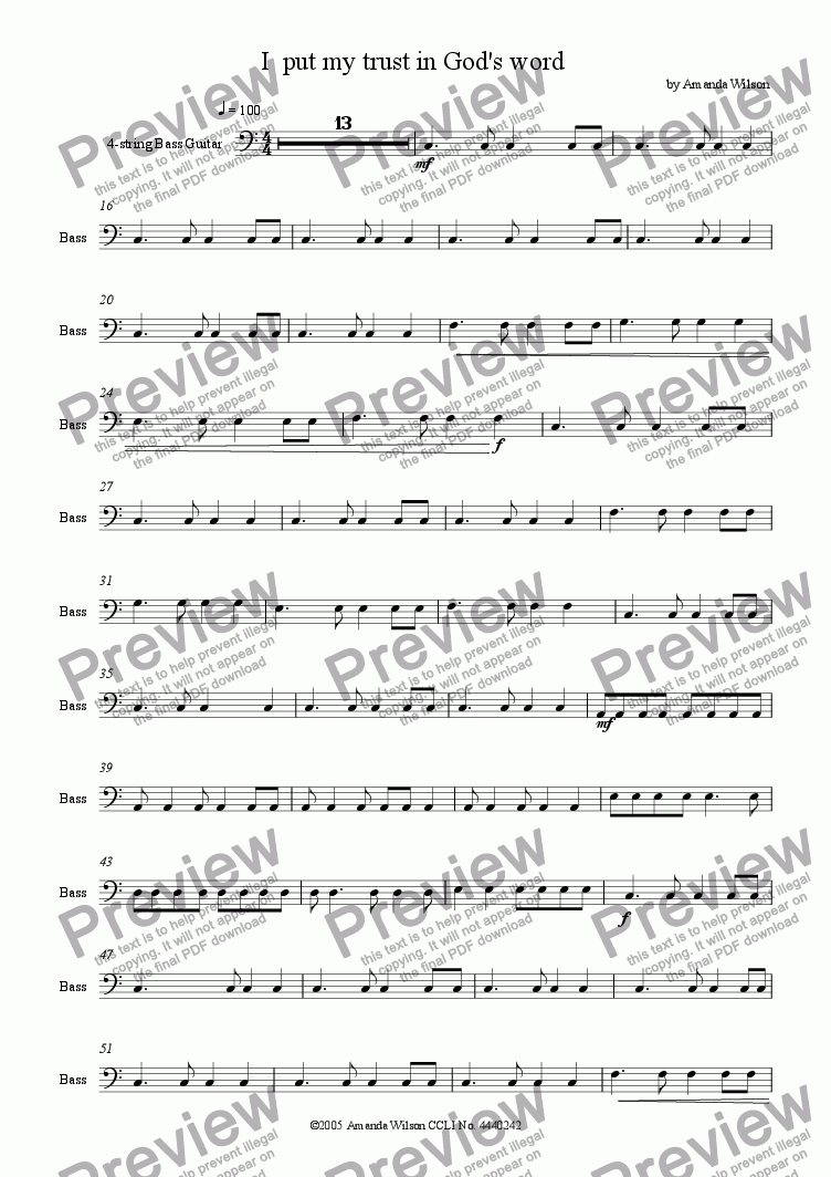 page one of the bass guitar part from I put my trust in God's word (guitar/band)