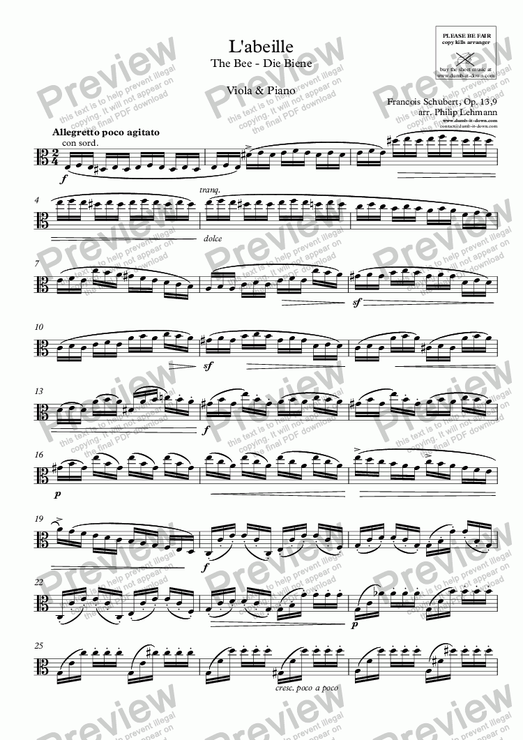 page one of the Viola part from Schubert, F. - L'abeille / The Bee - Op. 13/9 - for Viola & Piano (orig.)